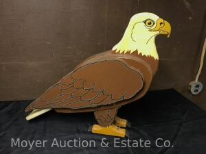 "Decorative Wood Eagle, 23"" Tall, 24"" Wide, Broken Toes"