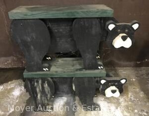 "Pair of Decorative Wood Bear Benches, 35"" Wide"