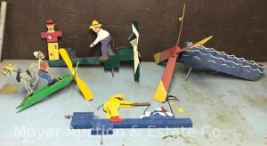 Group of Whirligigs, 2 Incomplete