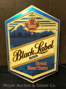 "Black Label Advertising Beer Sign, Works, 19"" Tall"