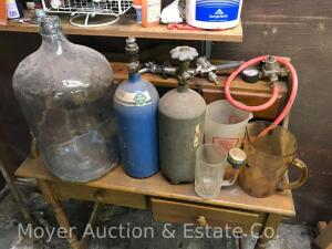 Brewing Supplies, Carbon Dioxide Bottles, 5 Gallon Glass Jug and Beer Taps