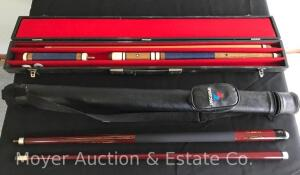 Pair of Pool Cues, with Cases