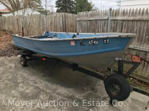 1976 Blue Fin 14ft. Aluminum Boat with 1975 Sears Trailer, transferable paperwork for boat & trailer, incl. 2 oars & canvas boat cover