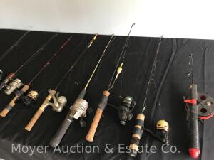 Group of Ice Fishing Rods and Reels
