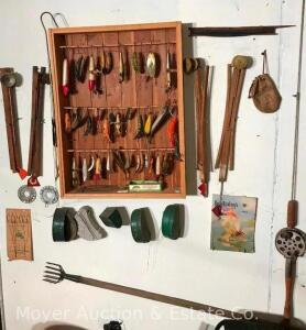 Vintage Fishing Lure Collection with Rack & Vintage Fishing Accessories