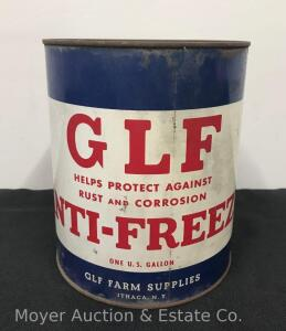 "G.L.F Anti-Freeze 1gal. Tin Can, 8""high"