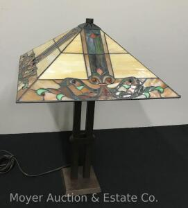 "Mission-style Leaded & Stained Glass Table Lamp, contemporary, good cond., 26""h"