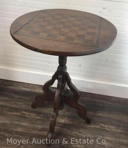 "Antique Victorian Round Table with game board inlaid top, 19""wide"