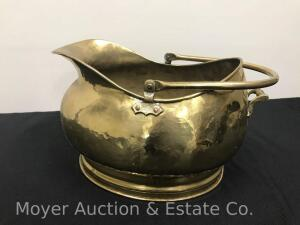 "Antique 19th C. English Coal Scuttle, hammered brass with bail handle, 17""w"