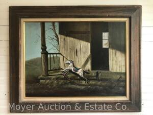 "Ronald Reillo (1937-1979) Painting ""The Rocking Horse"", dated 1965, oil/canvas, oak frame, overall: 25""h x 31""w, Ludwig Katzenstein label on rev."