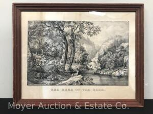 "Original Currier & Ives Lithograph ""The Home of The Deer"" ca. 1870, medium folio size, framed, overall 15""h x 19""w"