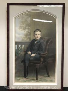 "Impressive Large Watercolor of Young Boy in Chair, ca. 1880, unsigned, overall: 46""h x 31""w, (probably had an outer frame)"