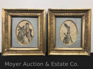 "Pair of Antique Gold Frames with Early Prints of Women, overall: 13""h x 11""w"