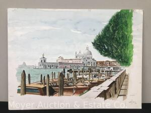 "Bruce Barber (Buffalo artist b.1925) Watercolor Painting, signed & dated 2000, view of Venice & docks, watercolor board, unframed, overall 15""h x 20""w"