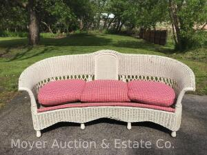 "Wicker Sofa, antique, good condition, 84""wide overall"