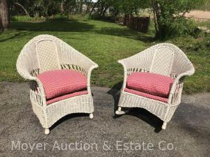 Wicker Chair and Matching Rocker, both antique, good condition