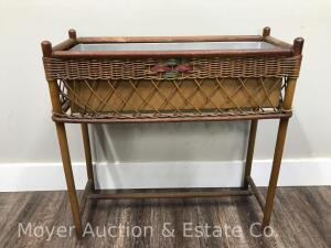 "Vintage Wicker Planter with metal insert, good condition, 27"" wide"