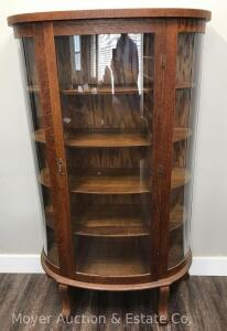 "Oak Curved Glass China Cabinet, antique, 36""wide, good condition with BB hole in front glass (you can imagine the story that goes along with that!)"
