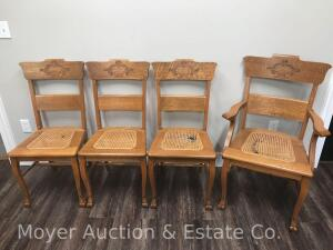 6 Oak Cane Seat Dining Chairs, One Captain's Chair, several seats need replacing