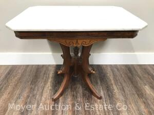 "Marble Top Walnut Lamp Table, top is 20"" x 28"""