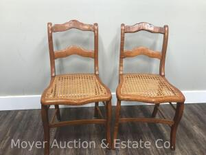 Pair of Tiger Maple Cane Seat Chairs, Repaired Rungs