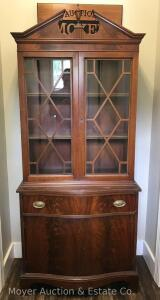 "Mahogany China Cabinet with dbl. doors over drawer over dbl. doors, nice condition, 32"" wide"