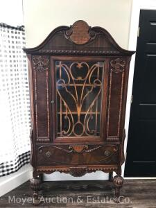"Depression Era China Cabinet with drawer, 39""wide x 73""h x 16""d"