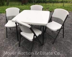 5 Piece Lifetime Poly Card Table and Chairs, Like New
