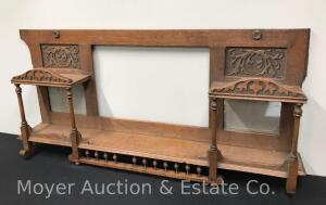 "Ornate Buffet Back, Missing Large Center Mirror, 57"" Wide"