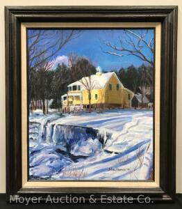 "Framed Oil on Canvas Winter Scene, Signed JoEllen Alvarez '78, Overall 27""x31"""