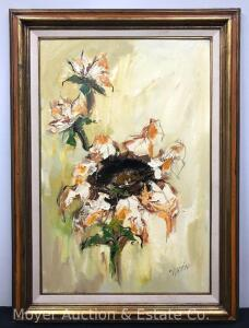 "Large Oil on Canvas of Flowers, signed Montien, framed, overall: 44""h x 32""w"