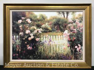 "Greg Singley ""Colonial Gardens"" decorative floral landscape lithograph, framed, overall: 27""h x 37""w"
