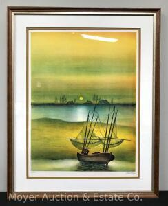 "Framed Lithograph of Ship, 65/350, Unknown Artist, Overall 22""x27"""
