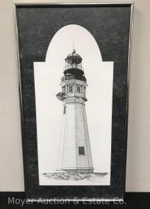 "Annette V. Trabucco Pen and Ink of Lighthouse, Buffalo NY Artist, 1992, 11""x21"""