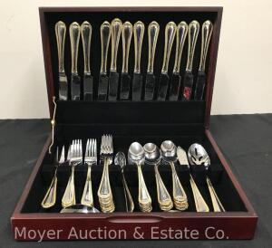 Gold Rim Flatware Set, 60 Pieces, With Chest