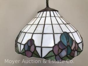 "Leaded Glass Hanging Light, 13"" Round"