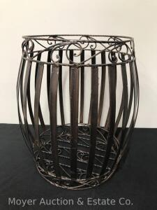 "Metal Planter/Waste Basket, 17"" Tall"