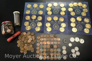 Group of Coins, 134 Wheat Pennies, Lincoln Cents, 1937 Mercury Dime, Buffalo Nickel, Etc.