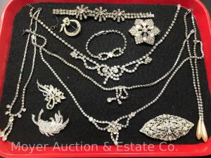Group of Rhinestone Jewelry Necklaces, Bracelets & Pins; star bracelet is Kramer sterling