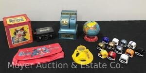 Group of Toys and Banks incl. Mattel jack-in-the-box, Register bank, tin globe bank, mini football helmets, etc.