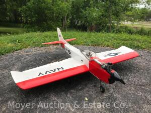 "Nitro Radio Controlled Airplane, T-28 Style, 54"" Wingspan, OS 52 Motor, No Radio, Unknown Operating Condition"