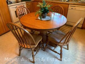 "Oak Kitchen Table & 4 Chairs, contemporary, nice condition, 42""wide top, solid top will not take leaves, bought new at Freys"
