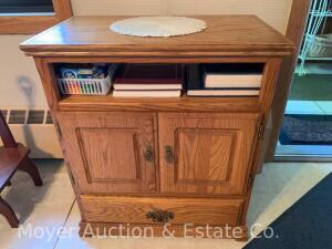 "Oak Microwave Stand, double doors over drawer, 28""w x 32""h"