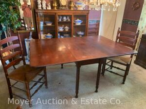 "Cherry Drop-leaf Dining Table w/6 Ladder-back Chairs, table has spool-type legs, all in nice condition, table is: 48"" x 21"" w/24"" drops"