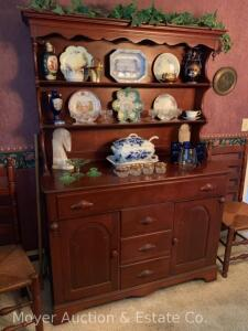 "Cherry Hutch, 4dr. with double doors, nice condition, overall size: 50""w x 72""h"