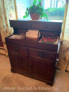 "Pine Dry Sink, double drawers over dbl. doors, older, not antique, 37""w"