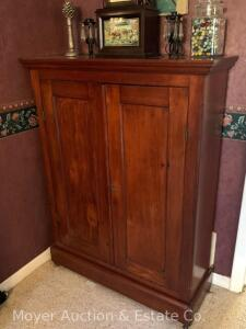 "Antique Walnut Cabinet w/dbl. doors, adjustable shelves, overall size: 40""w x 51""h, nice condition"