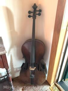 "1936 Cello by Karel Vysoky for Rudolph Wulitzer Co., made in Czechoslovakia, 44 1/2""long, 15 5/8""w at widest, appears good overall"