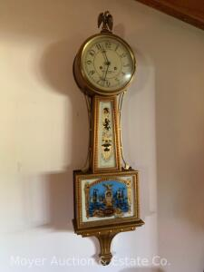 "The Henry Ford Museum Reproduction Aaron Willard Banjo Clock, key wind movement, missing key, 42""h, was working condition when last wound"