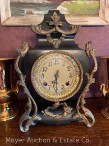 "New Haven Cast Iron Shelf Clock, w/pendulum, missing key, original finish, hands are loose, 14""h"